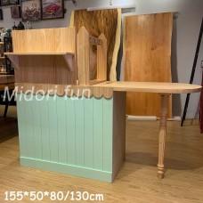 AC014 直拼松木兩抽櫃台桌